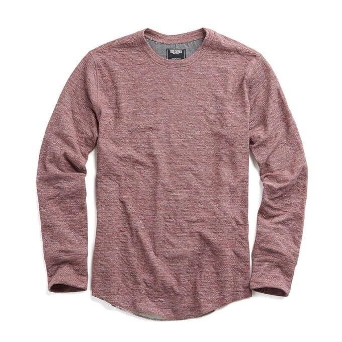 Todd Snyder Men's Heather Double Knit Long Sleeve, Sweater - Crimson   Medium