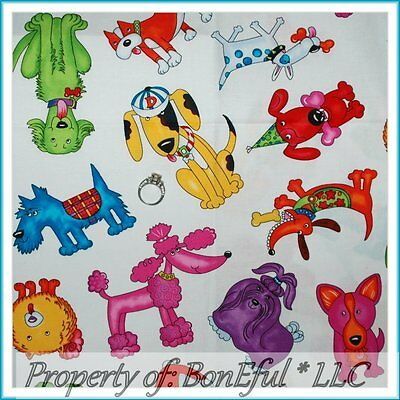 BonEful FABRIC FQ Cotton Quilt Rainbow White Pink L Puppy Hound Dog Poodle Breed
