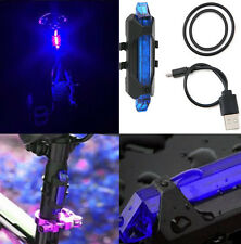 5LED USB Rechargeable Bicycle Bike Cycling Rear Tail Safety Warning Light Blue