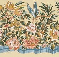 Dragonfly Flower Bumble Bees Blue Ribbon Cornsilk Wall Border Floral Wallpaper