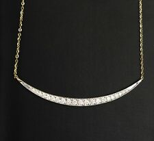 14k Solid Yellow Gold Bar Pendant Genuine 0.29CT Diamond Necklace. Retail $2650.