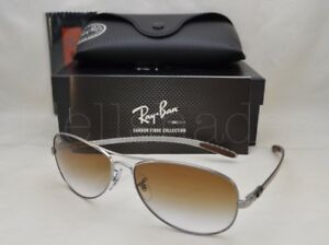 72cb5dd805 Ray Ban CARBON FIBRE (RB8301-004 51 59) Gunmetal with Crystal Brown ...