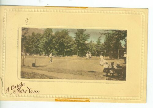 1912 New Year Color Postcard with Tennis Photo