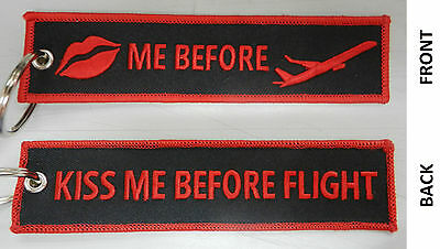 KISS ME BEFORE FLIGHT Brand New Keychain Schlüsselanhänger Portachiavi