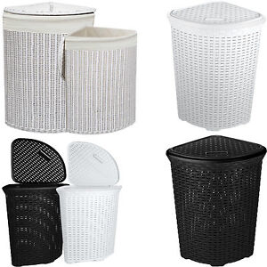 LARGE CORNER RATTAN WICKER LAUNDRY BASKET CLOTH LINING