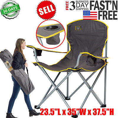 Folding Camping Chair Carry Bag Heavy Duty 500 Lb Capacity