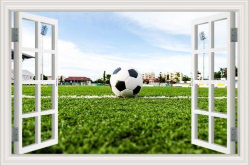 3D Window Scenery Football Playground Soccer Wall Decal Sticker Vinyl Wallpaper