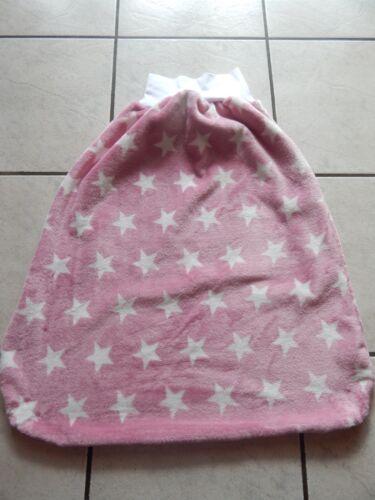 Schlafsack Pucksack Strampelsack aus Plüschfleece  rosa mit Sterne