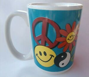 Hippy-Smiley-Smiles-Flowers-Ying-Yang-Peace-Coffee-Mug-Cup-Stocking-Stuffer