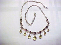 "NICKY BUTLER .925 STERLING SILVER 17-20"" CHAIN NECKLACE W/PERIDOT & SMOKEY TOPAZ"