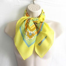 """VTG Scarf 27"""" Square Yellow Floral Striped Floral Made in Italy Neck Head Purse"""