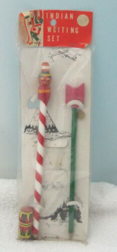 Vintage Indian Writing Set Pencil and Arrow Pencil MIP Cute Childs Toy Set T75