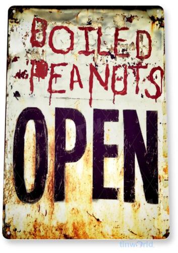 TIN SIGN Peanuts Open Metal Décor Wall Art Kitchen Store Farm A559