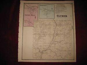 ANTIQUE 1867 CLYMER NASHVILLE CHAUTAUQUA COUNTY NEW YORK MAP SMITHS on