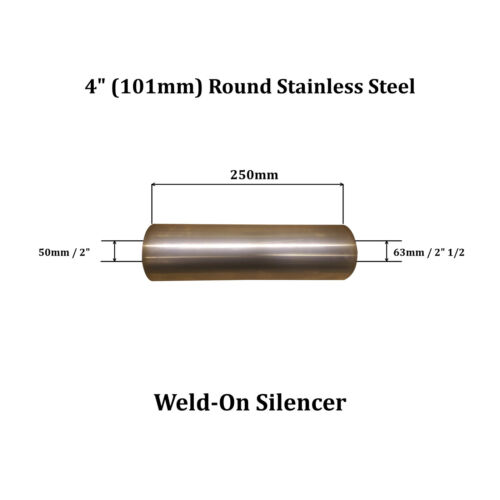 """4/"""" x 10/"""" Weld On Stainless Steel Silencer Exhaust Box Body 50mm In 63mm Out"""