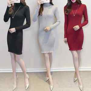 Women-Slim-Fit-Solid-Formal-Working-Business-Casual-Office-Pencil-Basic-Dresses