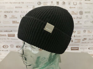 3430c6cc647f8 BENCH Ribbed Beanie Men s Basic Logo Hat Turn-up Wool Blend Black ...