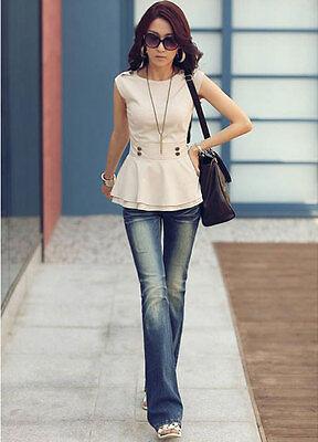Women Vintage Sleeveless Peplum Tops Blouse Bubble Bottom Slim Vest OL Blouse