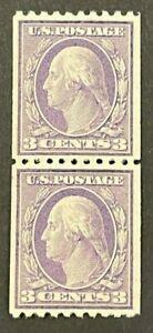 Scott#: 489 - George Washington, Type I 1916-1919, 3c Pair MNH OG - Lot 3