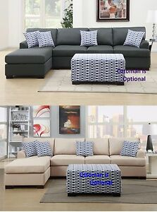 2 pcs Sectional sofa couch & Chaise in 2 colors for living room furniture set