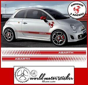 FASCE-ADESIVE-FIAT-500-ABARTH-adesivi-fasce-LATERALI-strisce-per-auto-OMAGGIO