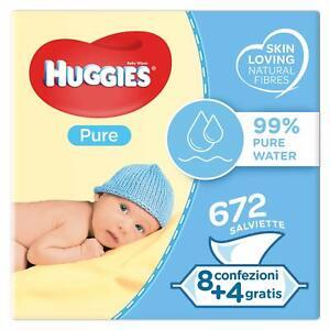 Huggies Pure Salviette Umidificate per Bambini, 12 Pacchi da 56 Pezzi, 672 pz