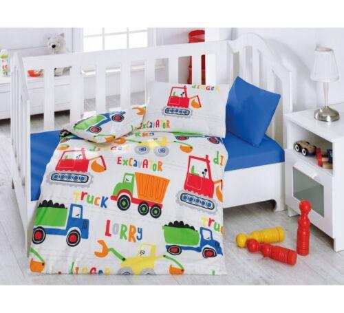 Crib Bedding Baby Boys 4pcs Bedding Set /%100 Turkish Cotton TRUCKS /& DIGGERS