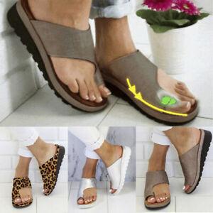 Flat-Sole-Ladies-Casual-Soft-Big-Toe-Foot-Correction-Sandal-Orthopedic-Bunion-ES