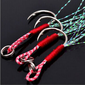 20x-Fishing-Hooks-Assist-Jig-Bait-Fishhook-Carbon-Stainless-Steel-with-PE-Line