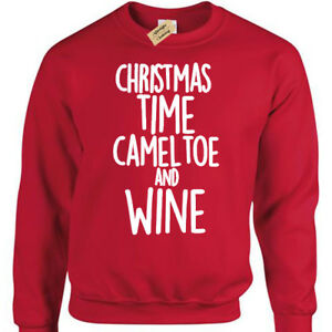 Natale-Volta-Cameltoe-e-Vino-Divertente-da-Uomo-Natale-Scherzo-Felpa-Regalo