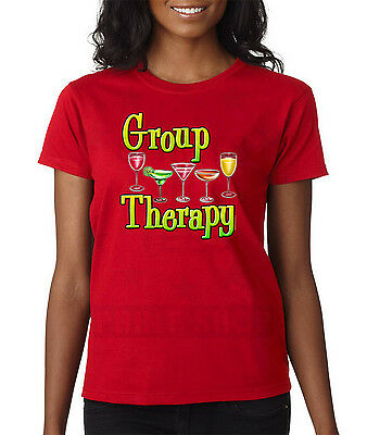 Women Group Therapy Funny Graphic Tees Wine Glasses Drink Ladies T Shirt