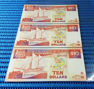 3X-Singapore-Ship-Series-10-Note-G-48-061667-061669-Run-Dollar-Note-Currency