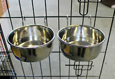 PAIR STAINLESS STEEL TOUGH METAL COOP CUP DOG CRATE FOOD WATER BOWL CAGE ANIMAL