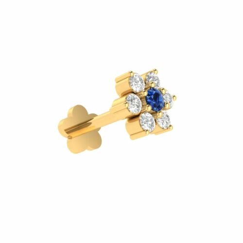 14k Gold Certified Diamonds And Blue Sapphire Nose Lip Labret Piercing Screw Pin