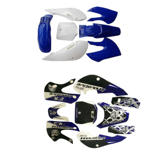 Blue Fairing Plastic Decal Graphics Sticker Kit Set For kawasaki KX65 KLX110