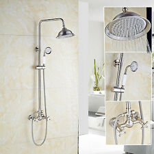 """Brushed Nickel Shower Faucet Set 8""""Rainfall With Handheld Spray Mixer Taps"""