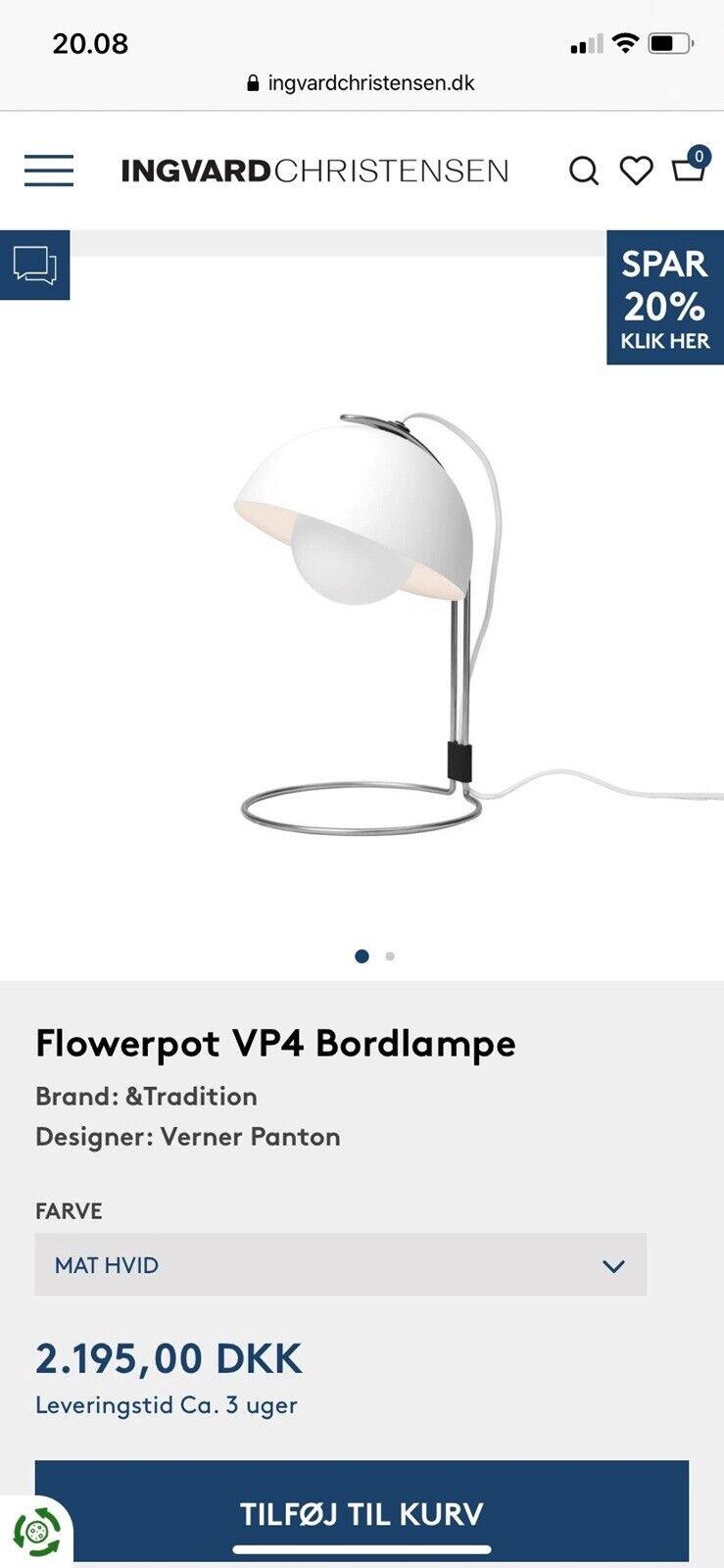 Picture of: Arkitektlampe Flowerpot Vp4 Bordlampe Dba Dk Kob Og Salg Af Nyt Og Brugt