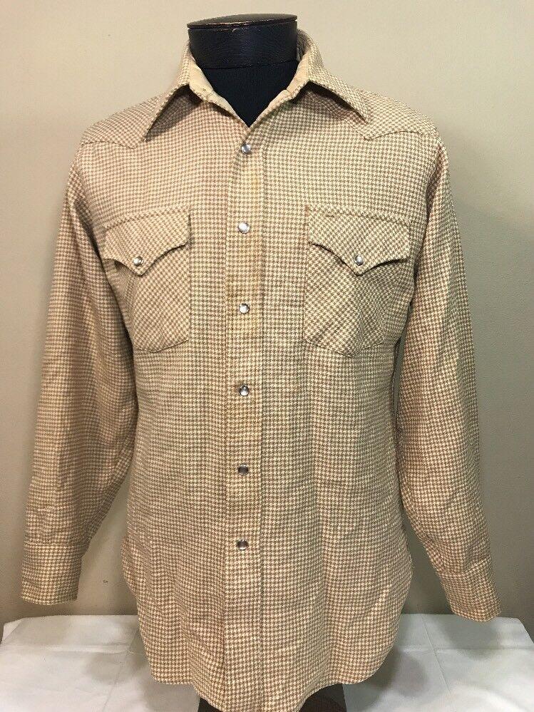 6be8c73b VTG Pendleton Flannel Shadow Plaid Board Wool High Grade Western Pearl Snap  Sz M. Vintage Men 100% Silk Shirt ...