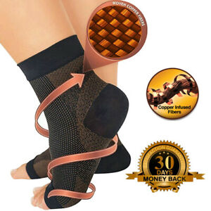 Magnetic-Copper-Compression-Relief-Ankle-Support-Brace-Foot-Sleeve-Socks-FCS