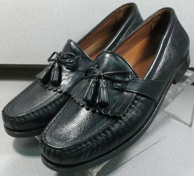 200593 WT50 Men's Shoes 11 W Black Leather Slip On Johnston Murphy Walk Test