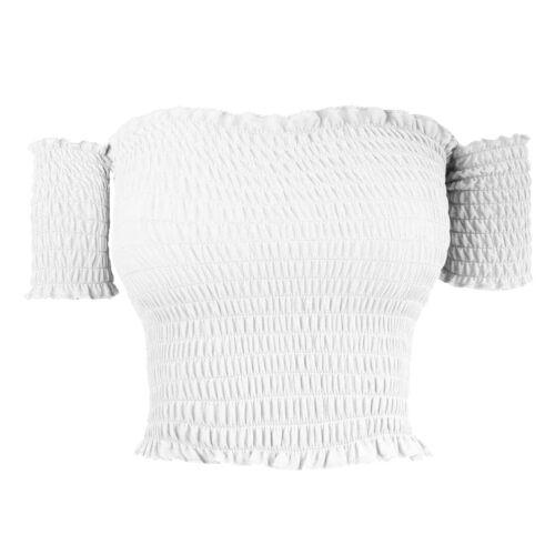 New Womens Bandeau Bardot Off Shoulder Gathered Sheering Ruched Vest Crop Top