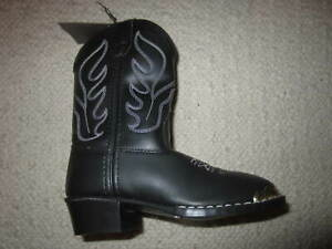 0e7357b5ee8 Details about NEW Old West Girl Western Cowboy Cowgirl Boots - Black  w/white stitching kids 11