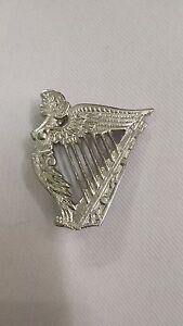 TC-Irish-Celtic-Harp-Cap-Badges-Glengarry-Hat-Badge-Pin-Silver-Brass-Military