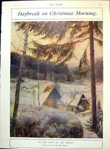 Antique-Old-Print-Daybreak-Christmas-Morning-Edge-Forest-Father-Sleigh-1912