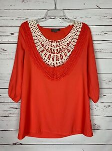 Umgee-Boutique-Women-039-s-S-Small-Coral-Ivory-Lace-Boho-Cute-Fall-Top-Blouse-Shirt