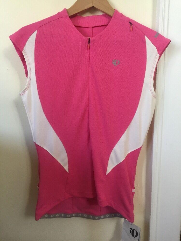 New Women's Pearl Izumi Select CS 3 4 Zip Jersey Sleeveless Medium Pink White