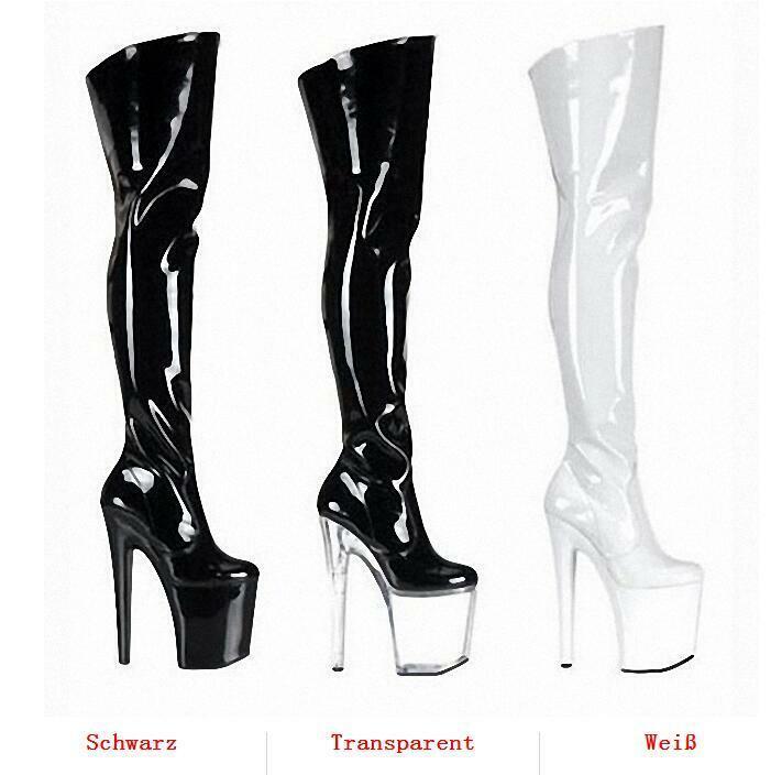 20CM Super High Heel Heel Heel Sexy Damenstiefel Plateau Stiletto Schenkelhoch Cosplay Neu 1439de