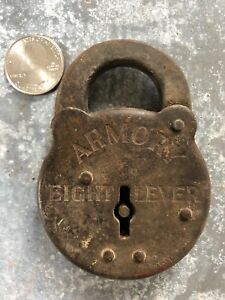 Vintage-steel-Armory-Eight-Lever-pancake-padlock-lock-no-key-old