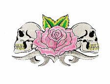"Pink Rose Skulls Embroidered Patch 7"" Iron On Skeleton Gothic Punk Biker Tattoo"