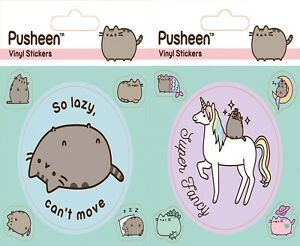 PUSHEEN Official Super Fancy Sheet of Vinyl Stickers 5 Stickers on Sheet Lazy